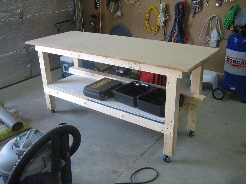 workbench plans using a door